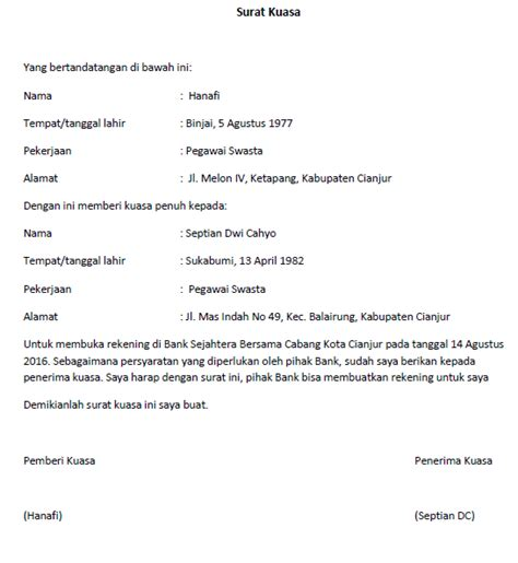format surat kuasa pengurusan imb contoh surat kuasa imb feed news indonesia