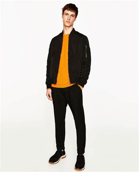 Pocket Zara Black zara pocket bomber jacket in black for lyst