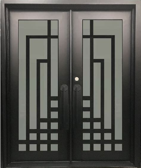plum modern double entry wrought iron doorsremovable