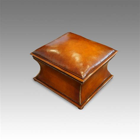 leather ottoman uk victorian square leather and mahogany ottoman hingstons