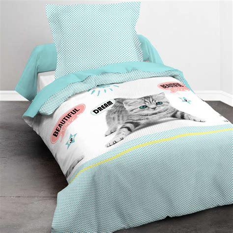 parure lit 1 personne parure de lit 1 personne imprim 233 chat linge de lit bleu