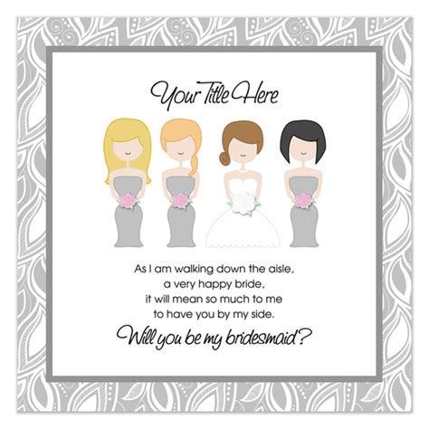 bridesmaid cards template will you be my bridesmaid gray invitations cards on