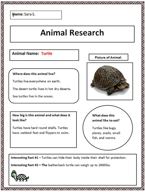 Common Core Animal Research Graphic Organizer   K 5
