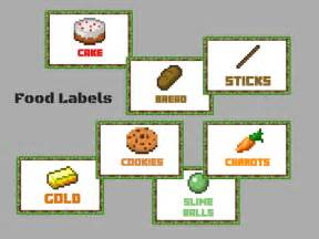 Minecraft food labels magical printable