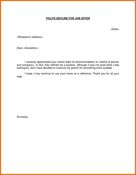 politely turning a offer decline offer letter general resumes