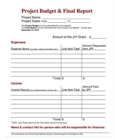 annual budget report template budget report templates 11 free word pdf format
