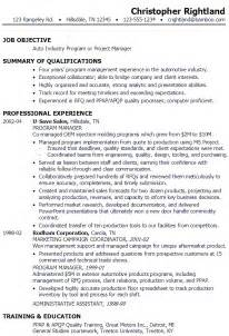 Program Manager Sle Resume by Resume Program Manager Or Project Manager In Auto Industry