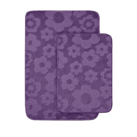 purple bathroom rug garland rug flowers purple 20 in x 30 in washable bathroom 2 rug set fb 2pc pur the