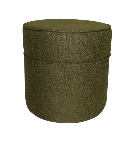 tall storage ottoman wholesale bulk dropshipper mossy green fabric tall round