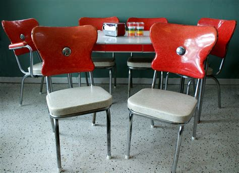 vintage 1950s red kitchen diner table set with 6 chairs