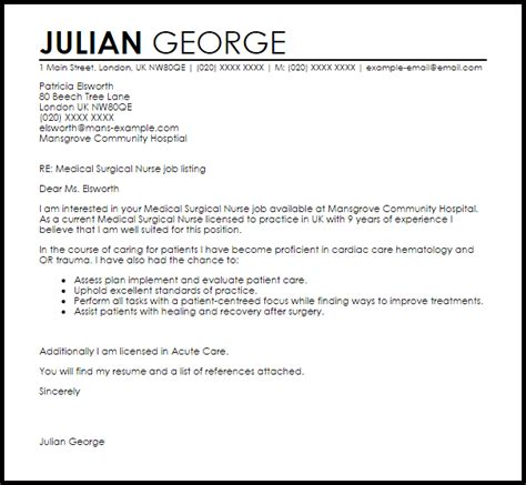 Work Experience Letter Gp Surgery Surgical Cover Letter Sle Livecareer