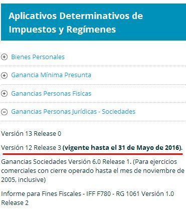 aplicativo ganancias 2016 ganancias personas juridicas version 13 vigente a partir