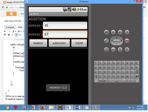 layout managers and event listeners in android gr solution develop an application that uses layout