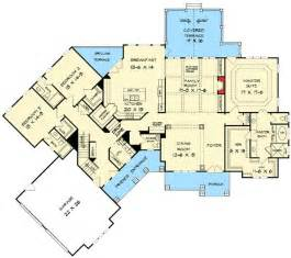 house design with entrance to office from master suite angled craftsman house plan