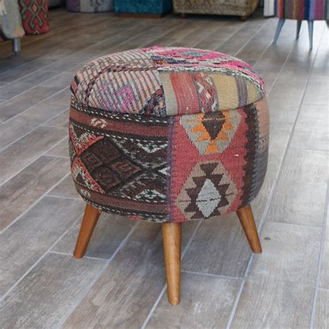 Patchwork Covered Chairs - boho furniture kilim stool stool covered with