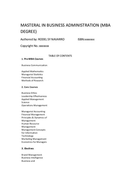 Mba Course Books Pdf by Pre Mba Courses Free Pdf Book Authored By Rodel Sy Navarro