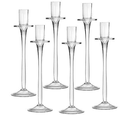 kerzenhalter 7 5 cm kerzenhalter aus glas f 252 r tafelkerzen h 246 he ca 25 5cm 6tlg