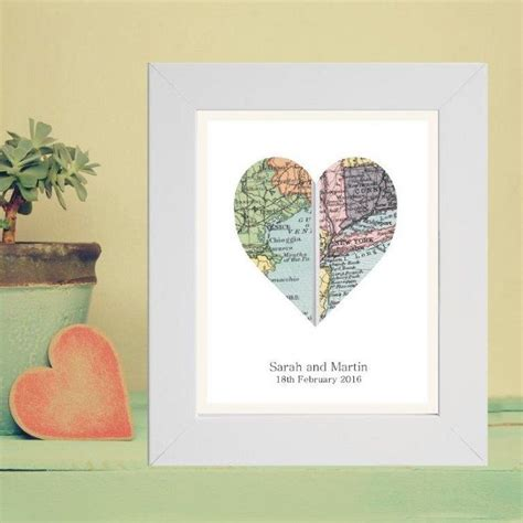 Wedding Anniversary Locations by A4 Vintage Map Framed Print Displaying 2 Locations