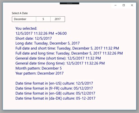 format date html uwp format datepicker selected date