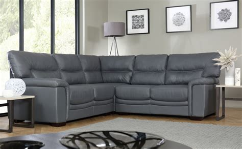 nelson grey leather corner sofa only 163 899 99 furniture