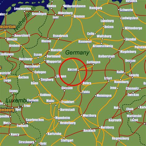 map showing germany kassel map travelsfinders