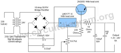 24v 5a power supply circuit diagram lm317 5a variable or adjustable power supply circuit diagram