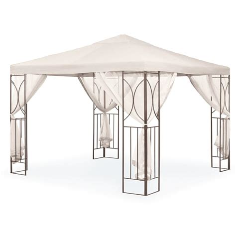 Polenza 2 5m Cream Garden Gazebo With Net Curtains