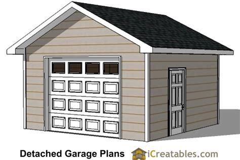 16x16 Shed Plans Free by 16x16 Garage Plans 1 Car 1 Door Detached Garage Plans