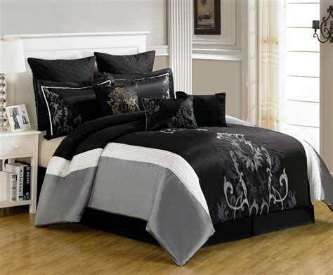 grey pattern bed sheets bedroom black and gray comforter with sham on grey bed