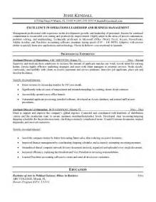 Assistant Director Sle Resume by Exle Assistant Director Of Operations Resume Free Sle