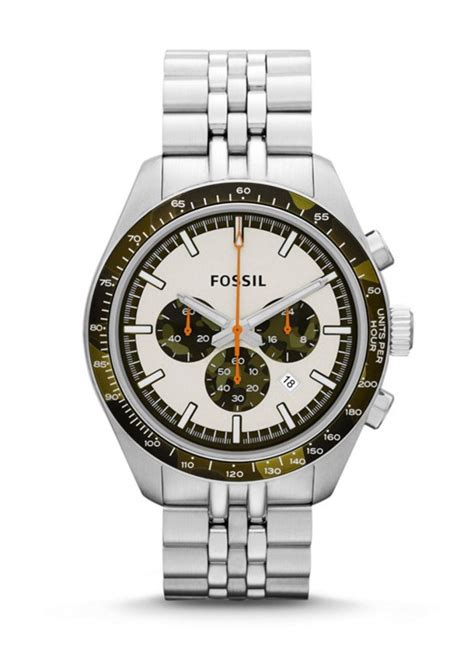 fossil mens chronograph stainless steel white