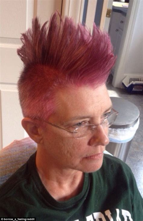 old woman pink hair mother with breast cancer shaves her hair into a bright