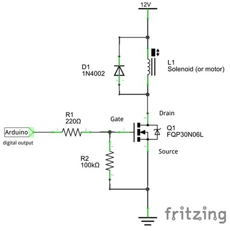 resistor value gate arduino n mosfet switch and solenoid