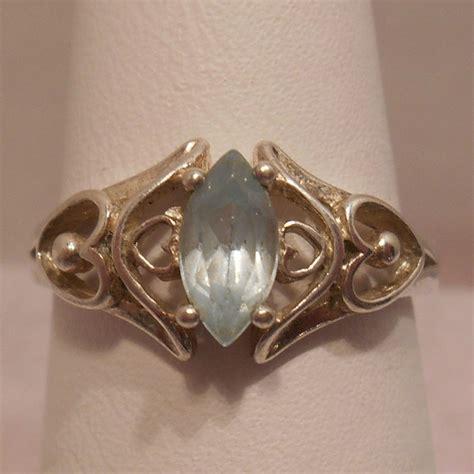 vintage antique estate blue topaz 925 sterling silver