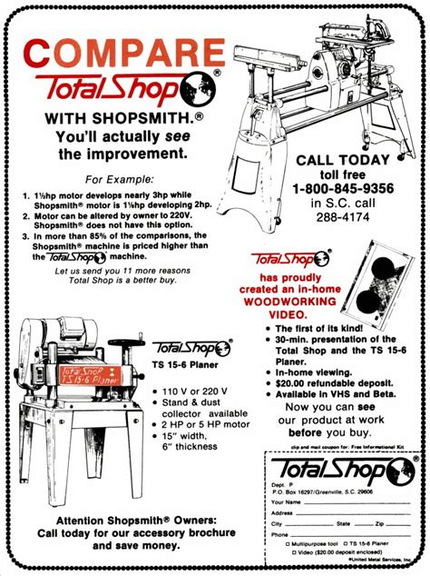 total shop woodworking machine 1986 total shop ad quot compare total shop with shopsmith