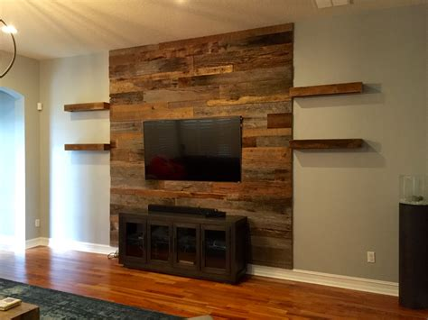 trevor s reclaimed barn wood accent wall with shelving latest project by fama creations custom