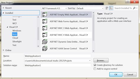 Visual Studio How Do I Open An Asp Net Empty Web Application Template In C Express Stack Asp Net Web Site Template Visual Studio 2012