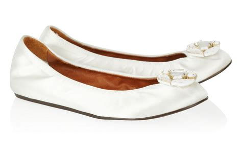 white ballet flat wedding shoes by lanvin onewed