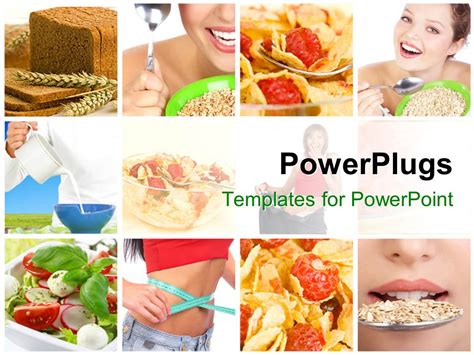 Powerpoint Template Collage Of Lady With Healthy Eating Habits And Diet 16036 Food Templates For Powerpoint