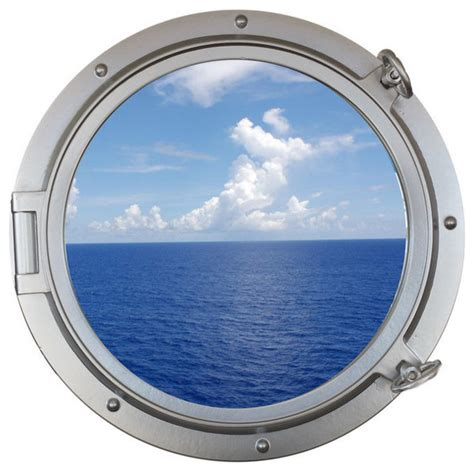 Decorative Ship Porthole Window Silver 24 Quot Beach Style Decorative Objects And Figurines