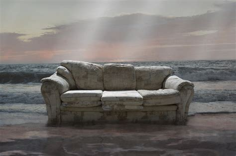 background sofa drowning sofa in ocean premade background stock by