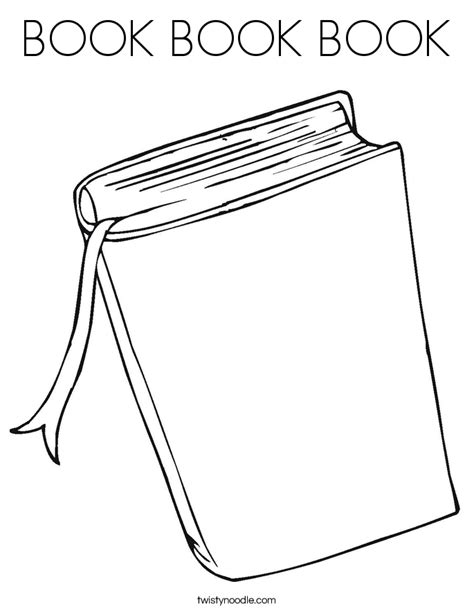 Book Book Book Coloring Page Twisty Noodle Colouring Pages Book