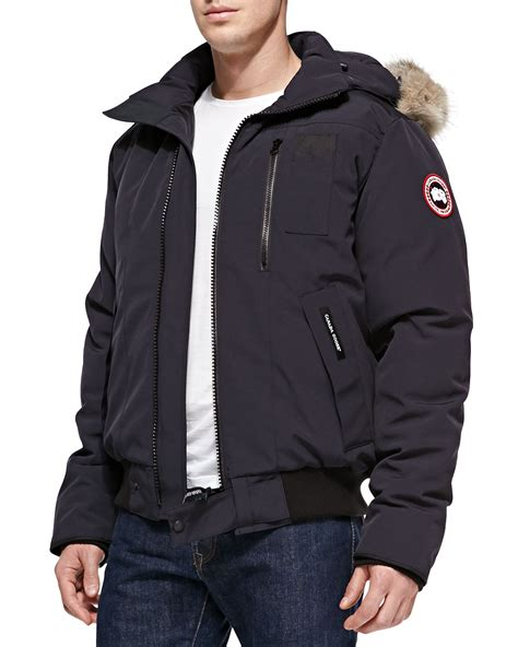 canada goose mens bomber jacket sale canada goose borden furhood bomber jacket navy in blue for