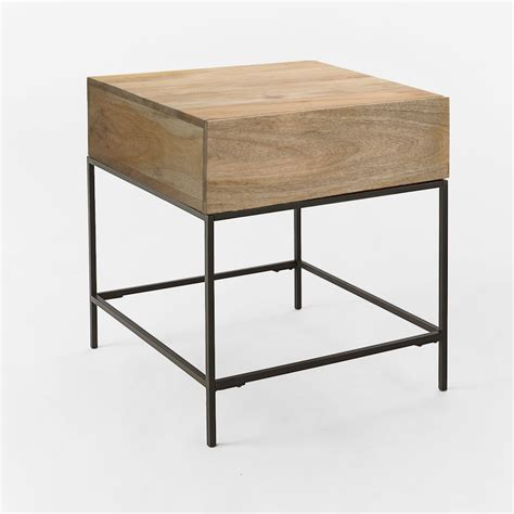side table industrial storage side table west elm au