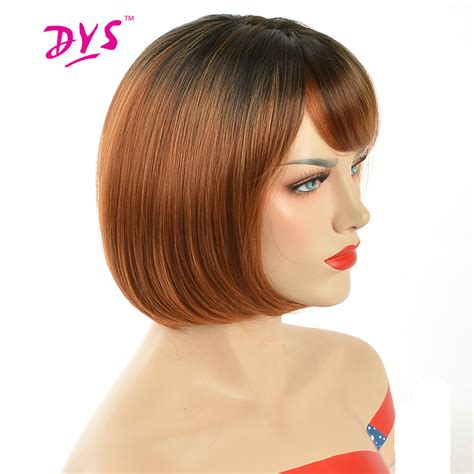 fake hair highlights for pixie cuts deyngs pixie cut ombre red bob wigs for black women short