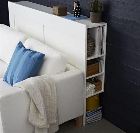Attrayant Canape Lit Chambre Ado #9: Tête-lit-avec-rangement-latéral-bois-peint-blanc-idée-Ikea.jpg