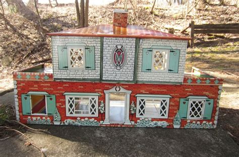 t cohn dollhouse vintage 1950s t cohn dollhouse tin metal litho two patio