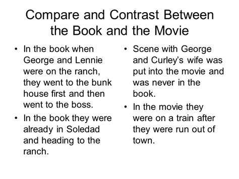 Compare Contrast The Olsens Vs The Trainas by Of Mice And Chapters Ppt