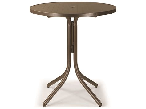 bistro table with umbrella hole telescope casual aluminum slat top 36 round bar height