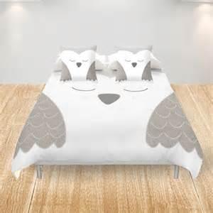 owl duvet cover owl duvet cover king cover white gray